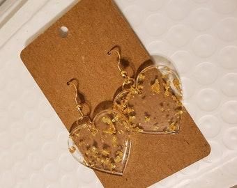 Big Heart Gold Resin Earrings Handmade Gold Leaf Resin Earrings