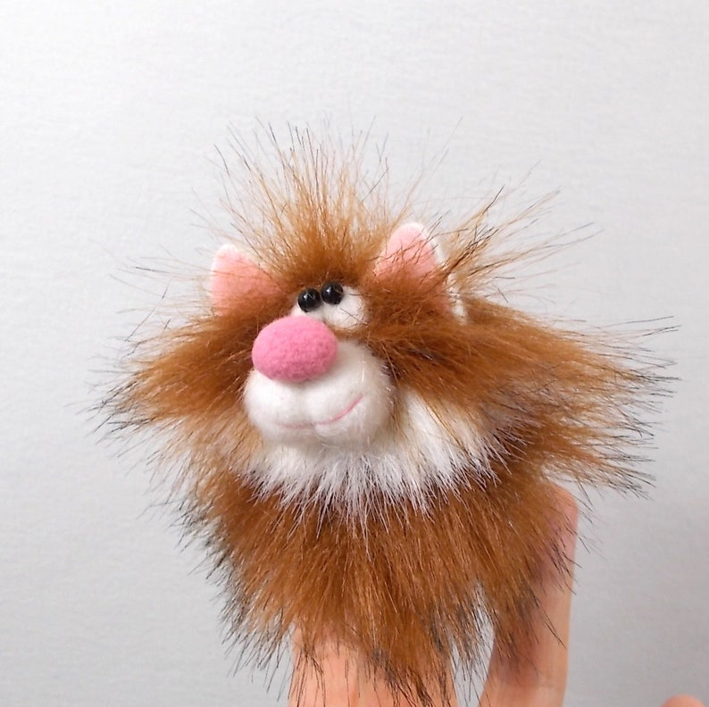 Little cat finger puppet copper color with a white goatee Petite animal toy Kitty puppet for finger theater Cat soft fur toy.