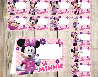 12 Minnie Mouse Food Labels Printable Tent Cards Party Instant Download