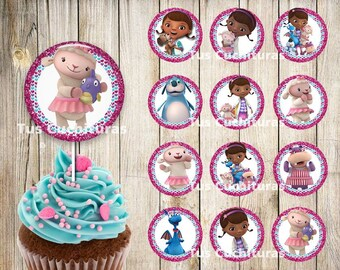 12 Doc McStuffins Cupcakes Toppers Instant Download Printable Topper 2 INCHES