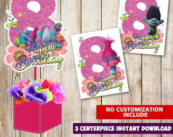 3 Trolls Centerpieces Printable 8th Party Supplies Birthday Decorations Instant Download