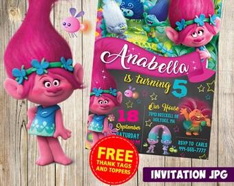 Trolls Invitation Party Birthday Girl Boy Theme Printables