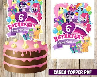 My Little Pony Cakes Toppers Printable Party Topper Logo