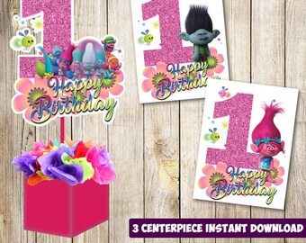 3 Trolls Centerpieces Printable 1st Party Supplies Birthday Decorations Instant Download