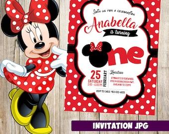 Minnie Mouse Invitation Party Birthday Printable