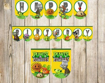 Plants Vs Zombie Triangle Banner Instant DownloadPrintable BannerPlants Party