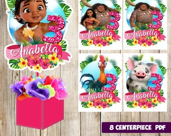 8 Moana Centerpieces Printable Party Supplies Birthday Favors Decorations