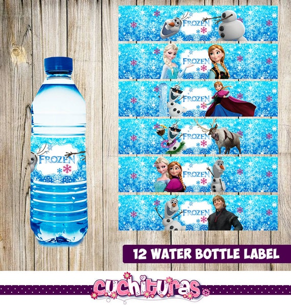 12 frozen water bottle label instant download printable etsy