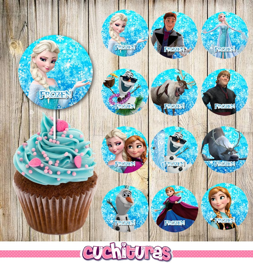24 Frozen Cupcakes Toppers Instant Download Printable
