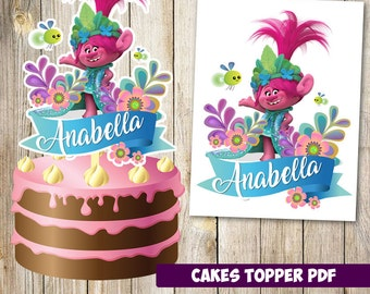 Trolls cakes toppers instant download, Printable Trolls party Cakes Topper, Logo Trolls Party, Trolls  Cakes Topper