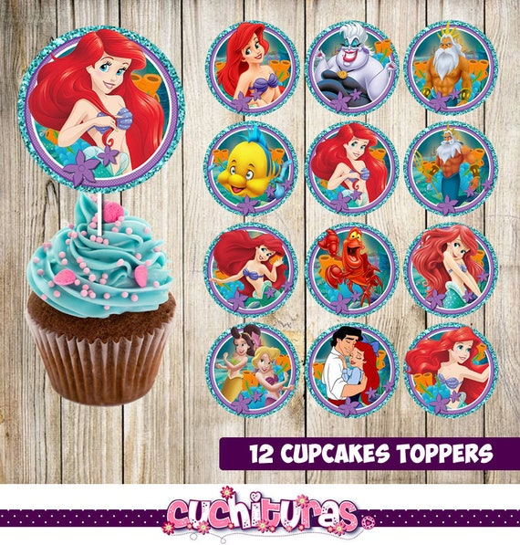 12 Little Mermaid Cupcakes Toppers Instant Download Etsy