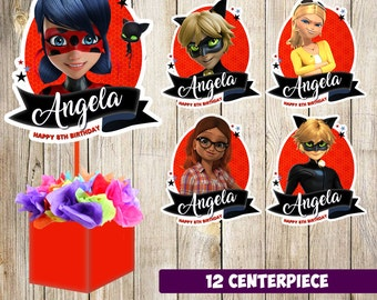 12 miraculous ladybug centerpieces, miraculous ladybug printable centerpieces, miraculous ladybug party supplies,miraculous ladybug birthday