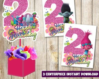 3 Trolls centerpieces, Trolls printable centerpieces, Trolls 2nd party supplies, Trolls birthday, decorations, Trolls instant download