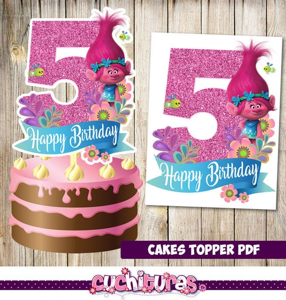 Trolls Cakes Toppers 5th Instant Download Printable