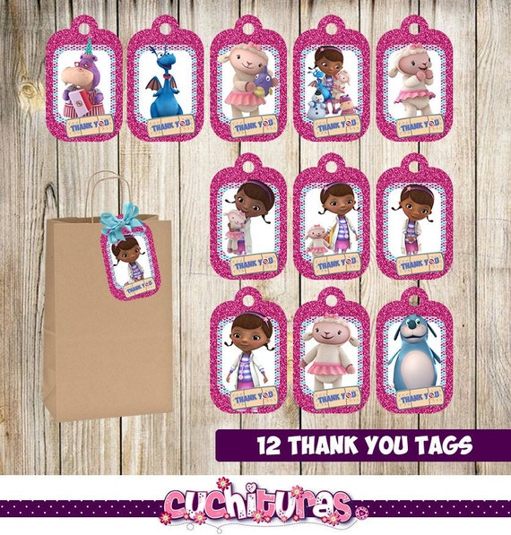 12 Doc McStuffins Thank You Tags Instant Download Printable