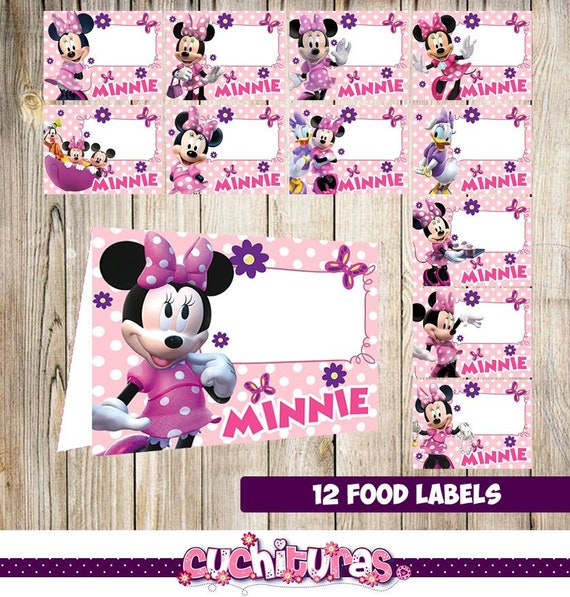 12 Minnie Mouse Food Labels Printable Tent