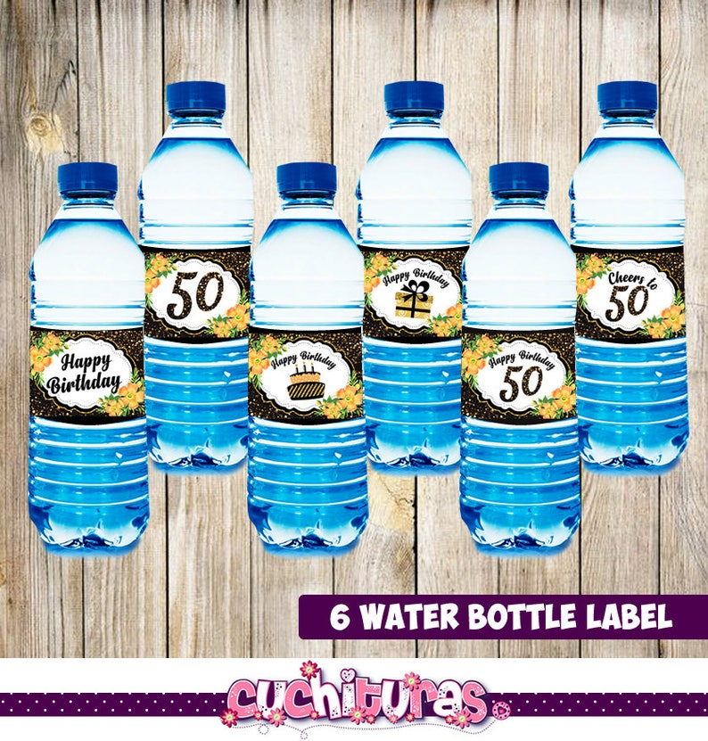 image relating to Water Bottle Labels Printable named 50th Birthday Drinking water Bottle Labels - Printable 50th Birthday Bash Decorations - H2o Bottle Label - Printable Electronic Report Prompt Down load