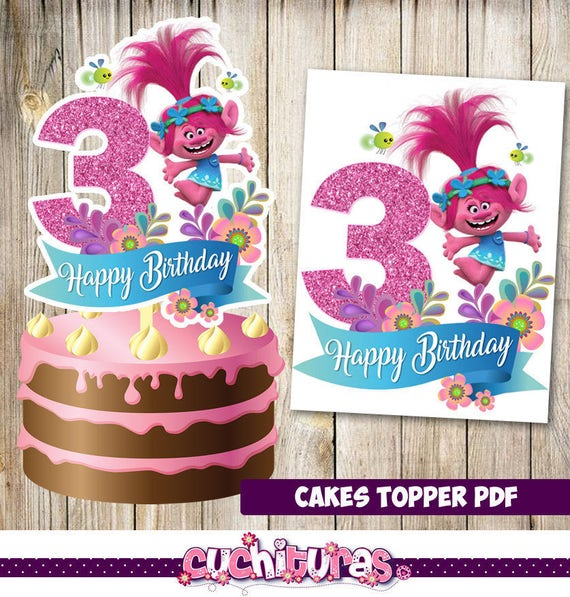 Trolls Cakes Toppers 3rd Instant Download Printable