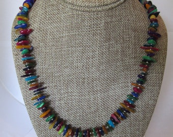 Multicolored Flat Beaded Necklace