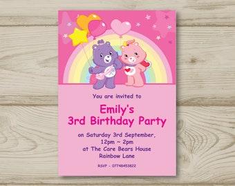 Care Bears Birthday Party Invitations Personalised Balloons Rainbow Teddy Bears