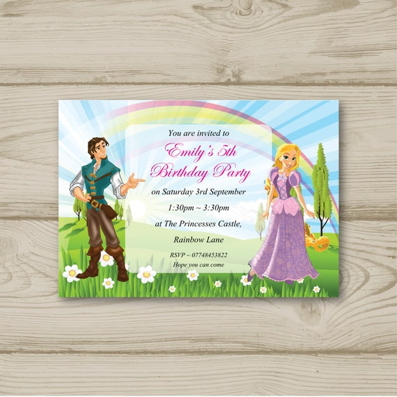 Disney Princess Rapunzel Birthday Party Invitations Personalised Tangled Prince Flynn