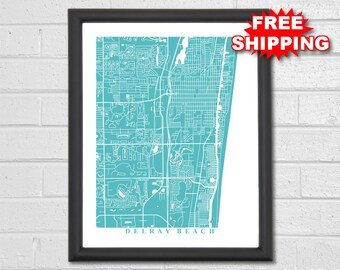 Delray Beach Florida Map.Florida Map Etsy