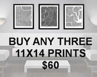 3 Prints for 60 Dollars - 11x14 - Custom City Map Art - Choose Your City - Map Print - Maps - Custom - City Collection
