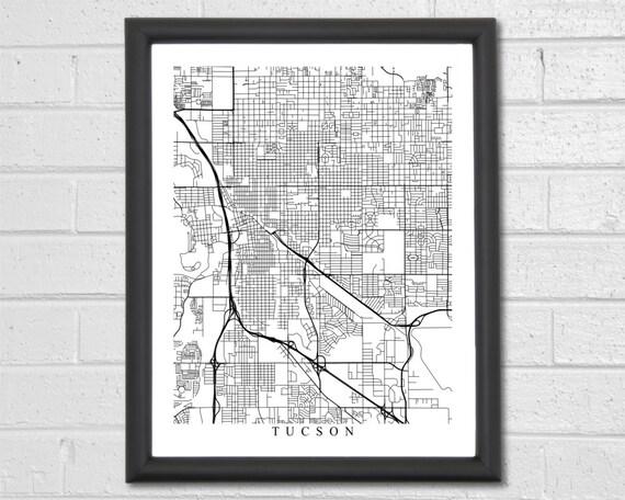 Tucson Map Art - Map Print - Black and White - Arizona - City Map Art on map north tucson az, zoom tucson tucson az map, mapquest tucson az, area code map tucson az, map okc to tucson az, printable street map tucson az,