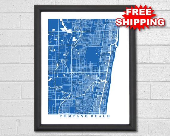 Pompano Beach Map Art City Map Florida Travel Map Etsy