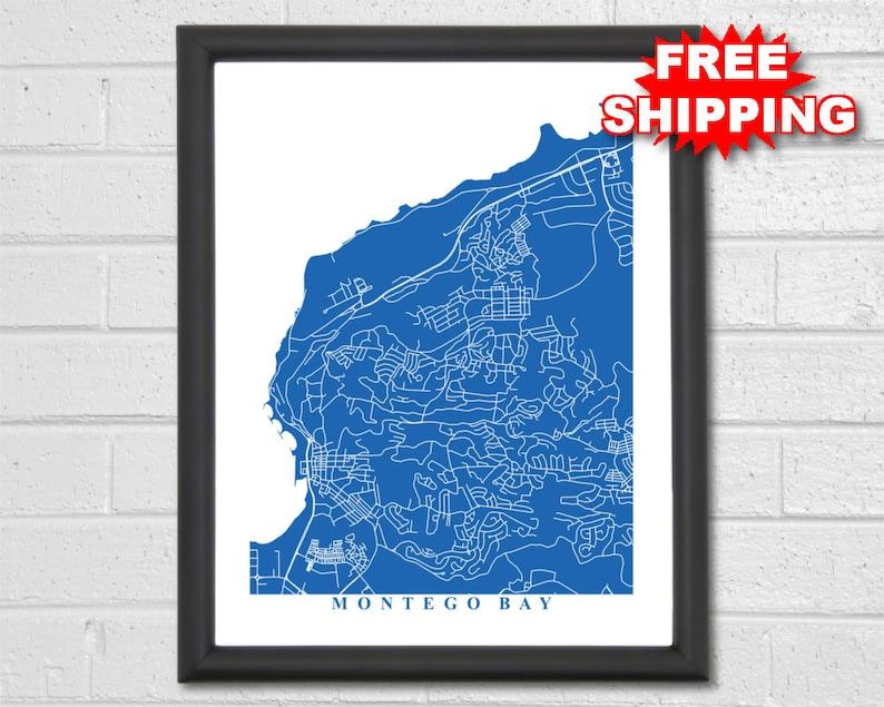 Montego Bay Map Art - City Maps - Jamaica - Travel - Caribbean - Map Print  - Custom Map - Beach - Home Office Decor - Wedding Map