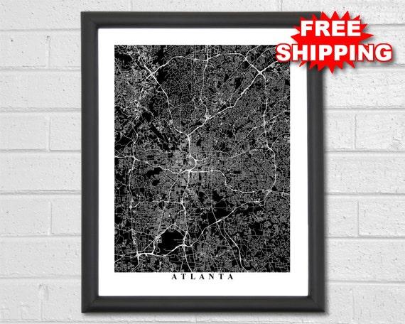 Atlanta Map Art Map Print Black And White Georgia Etsy