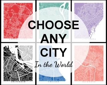 Custom City Map Art - Travel Gift - Custom Map - Map Print - Office Decor - Home Decor City Streets Map Wall Poster - World Map