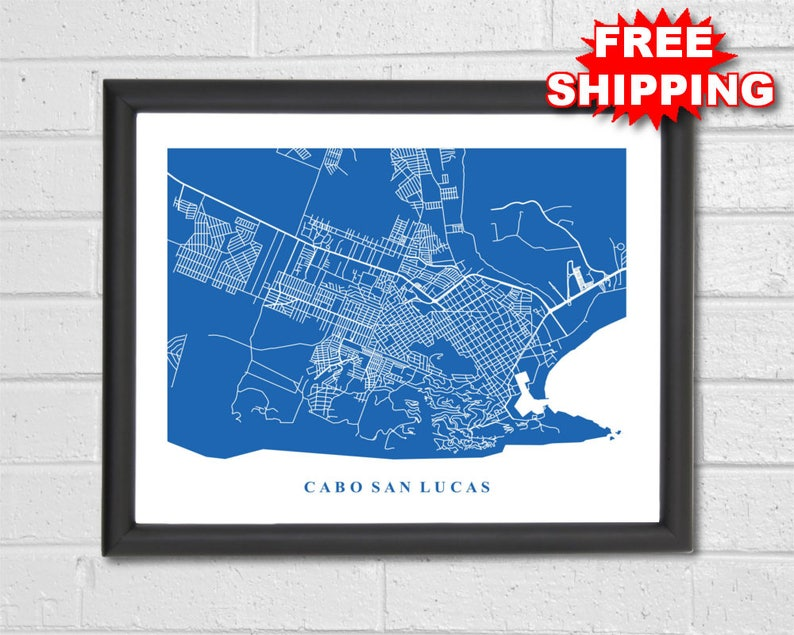 Cabo San Lucas Map Art City Maps Mexico Travel Map Etsy