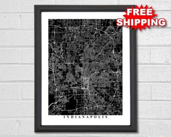Indianapolis carte art carte imprimer noir et blanc etsy