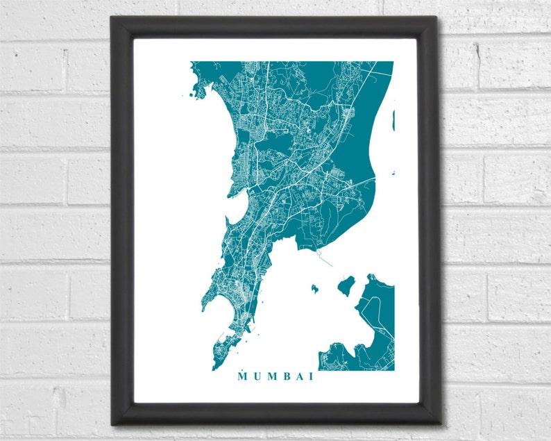 Mumbai Map Art Print India Home Anniversary