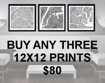 3 Prints for 80 Dollars - 12x12 - Custom City Map Art - Choose Your City - Map Print - Maps - Custom - City Collection