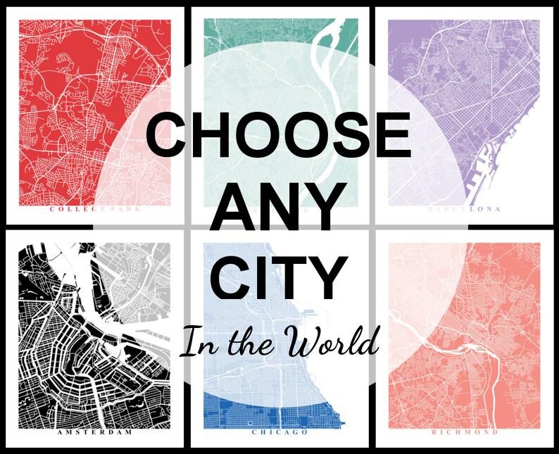 Custom City Map Art Choose Any City in the World Travel | Etsy