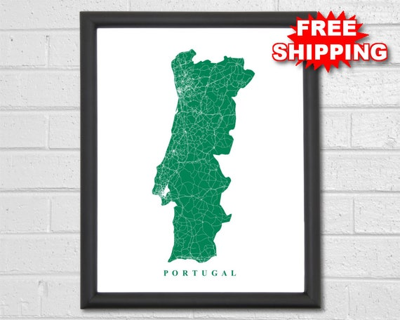 Portugal Map Art City Map Europe Travel Map Print   Etsy
