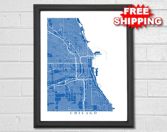 Chicago Map Art - Map Print - Illinois - Travel - City Maps - Custom Map - Travel Gift - Home Map - Chicago Poster - Map of Chicago - Home