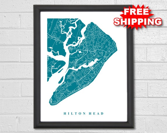 Hilton Head Map Art City Maps South Carolina Travel   Etsy