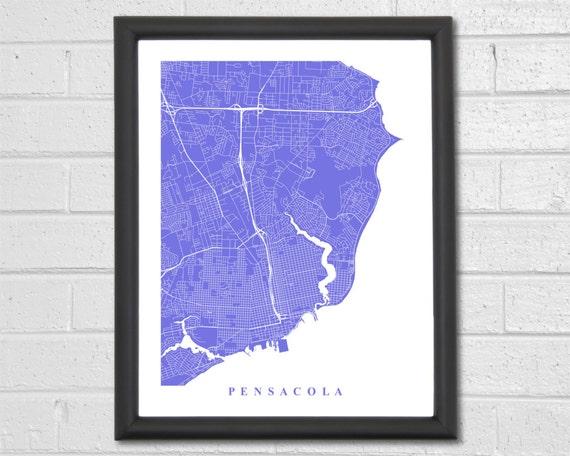Map Florida Pensacola.Pensacola Map Art Map Print Florida Pensacola Map Etsy