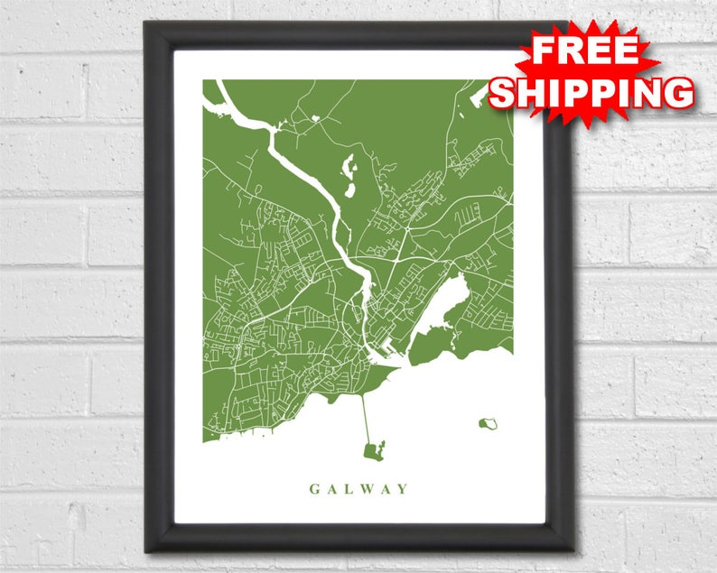 Street Map Of Ireland.Galway Map Art City Map Ireland Travel Map Print Street Map Art Map Of Galway Map Of Ireland Custom Map Home Office Decor