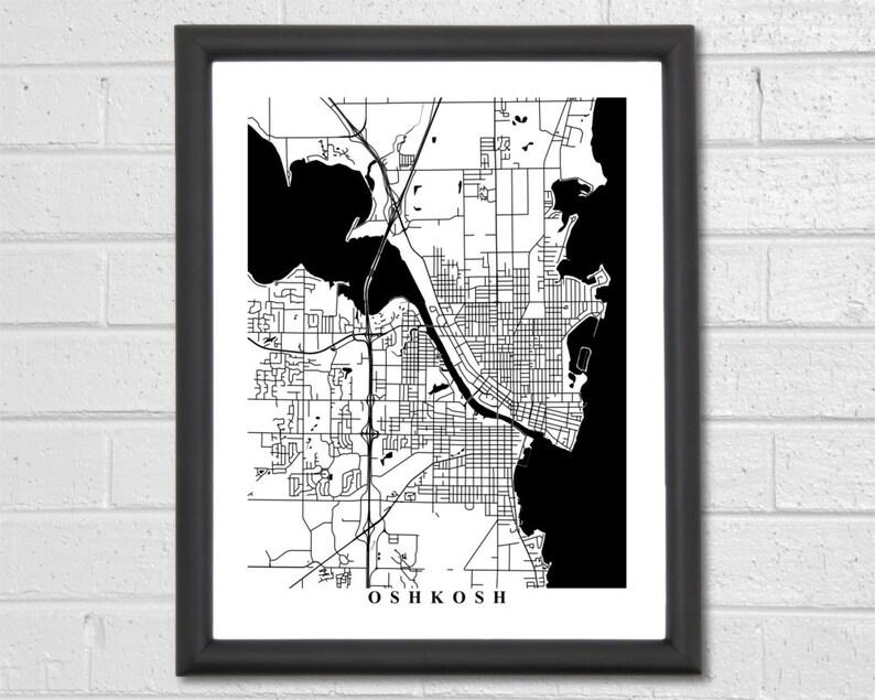 Wisconsin Home Map Print Travel Gift Wedding Office Decor Oshkosh Map Art Hometown Black and White Map Gift Custom Map