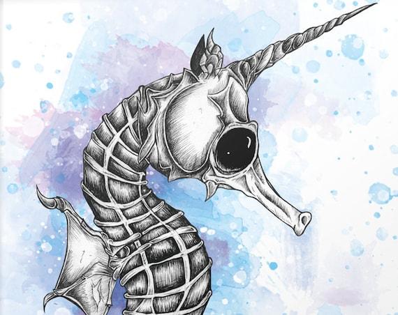 """""""Seepferdchen"""" Serie: Knochentierchen Print"""