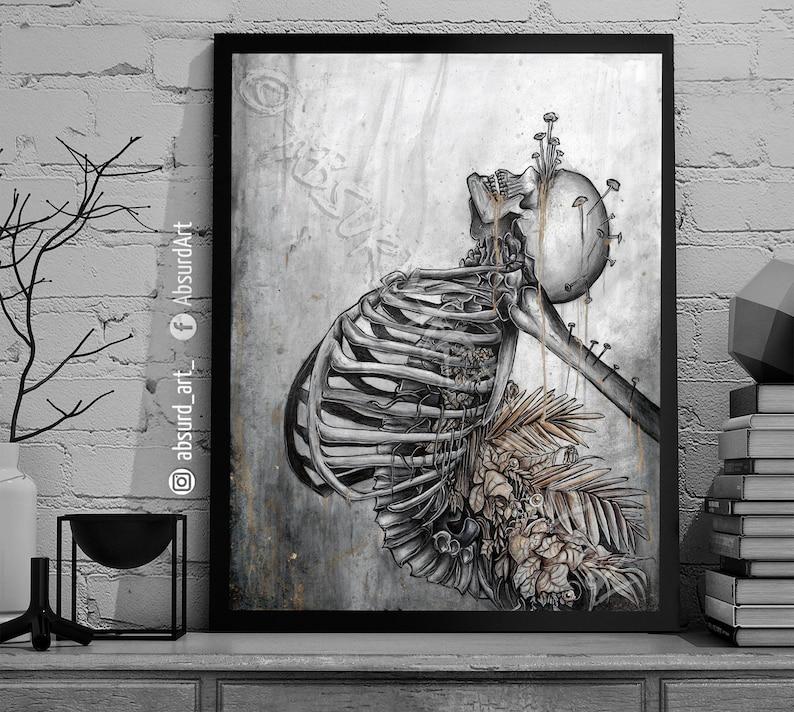 Black Out Art Print Depression Illustration Pain Horror image 0