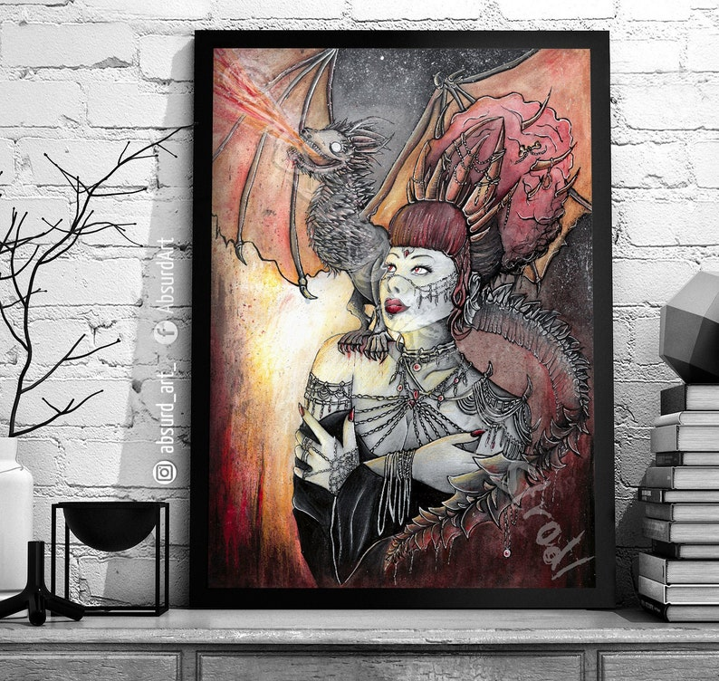 Arya Absurd ART Print Horror Dark Fantasy Dragon Art Nature image 0