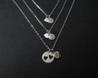Personalized Mother and Daughter jewelry,Mother and Two Daugther initial necklace,Gift for Mom,sterling silver