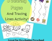 Birds and Bees Spring Preschool Coloring Pages and Tracing Lines/Scissor Practice Cutting Activity