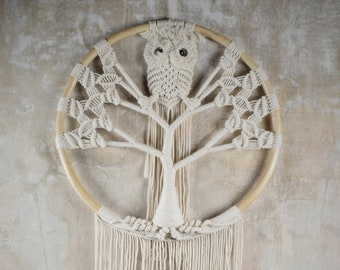 Owl Edition Tree of Life Macrame Wall Hanging / Large Macrame Wall Hanging / Dreamcatcher / Tree of Life Dreamcatcher with owl - Owl