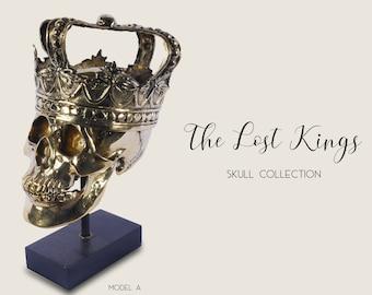 The Lost Kings Skull Collection - Solid Brass Skull - Crowned Skull -  Skull on stand - Golden Skull